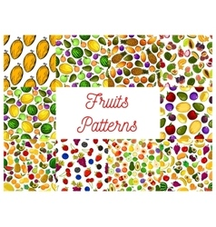 Tropical fruit and garden berry seamless pattern vector