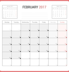 Calendar Planner for February 2017 vector image
