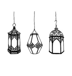set of hand drawn arabic lanterns vector image