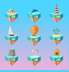Tropical island symbols polygonal icons set vector