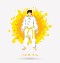 Karate suit with yellow martial arts belts vector