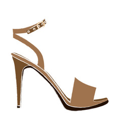 color sketch of high heel sandal shoe vector image