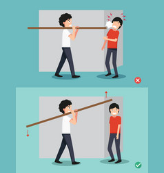 right and wrong carrying a piece of wood on his vector image