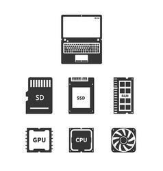 Laptop hardware icons vector