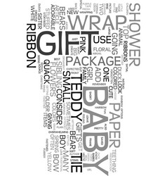Wrap adorable baby shower gifts text word cloud vector