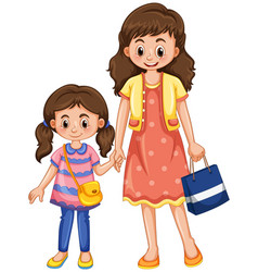 Mother and daughter holding hands vector