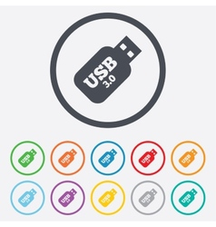 Usb 30 stick sign icon usb flash drive button vector