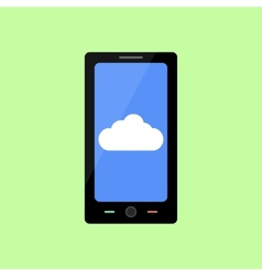 Flat style smart phone with cloud vector