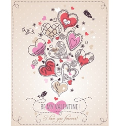 Background with valentine heart vector