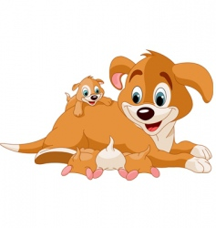 Mother dog nursing cute puppies vector