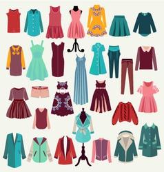 Clothes collection woman wardrobe vector
