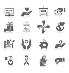 Charity icon black set vector