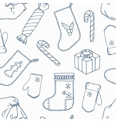 Christmas decoration outline seamless pattern vector