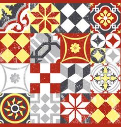 Vintage patchwork seamless pattern mosaic tile vector image