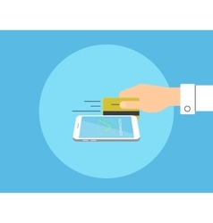 Payment by credit card linked to the smartphone vector