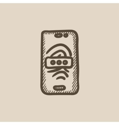 Mobile phone scanning fingerprint sketch icon vector