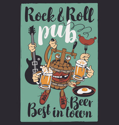Banner for rock-n-roll pub with funny beer barrel vector