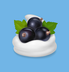 Black currant in yogurt or ice cream vector