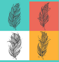 black feather icons set of logo design vector image