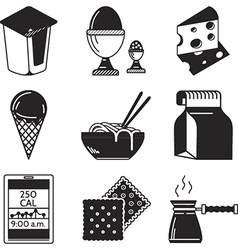Black icons for lunch menu vector image vector image