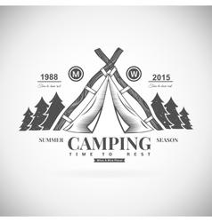 Camping retro logo vector image vector image