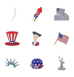 Celebration of independence day usa icons set vector