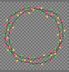 Christmas tree string garland in circle shape vector