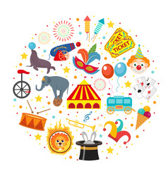 circus icon set in round shape flat cartoon style vector image vector image