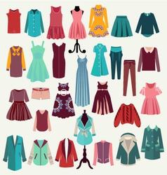 clothes collection woman wardrobe vector image vector image