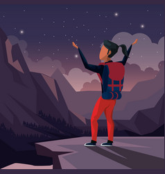 Colorful night landscape of climber woman vector