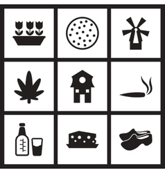 Concept flat icons in black and white netherlands vector