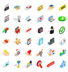 Cyber protection icons set isometric style vector
