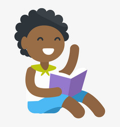 Enthusiastic african child with book in hand vector