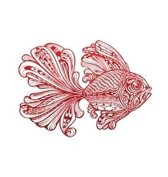 Fish painted tribal ethnic ornament vector