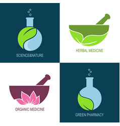 Green pharmacy and herbal medicine icons vector