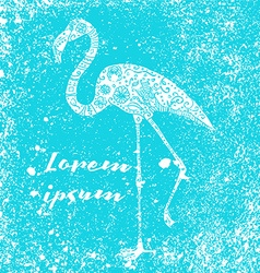 Grunge flamingo poster vector image vector image