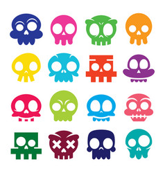 halloween cartoon skull icons mexican cute vector image