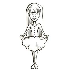 Hand Drawn Little Girl vector image
