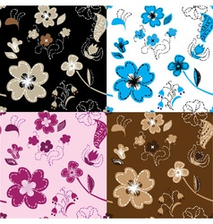 Hand made applique work seamless vector image vector image