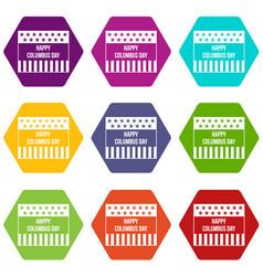 happy columbus day icon set color hexahedron vector image vector image
