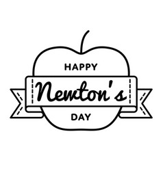 happy newtons day greeting emblem vector image vector image
