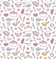 Kitchenware and cooking utensils doodle seamless vector