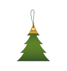 Label tag pine tree merry christmas icon vector