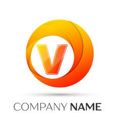 Letter v logo symbol in the colorful circle on vector