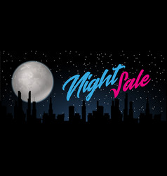 Night sale dark banner sale poster with fool moon vector