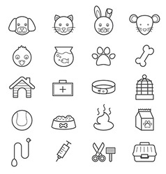 Pet icons line vector