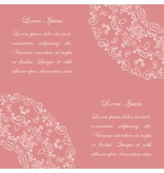 Pink background with white vintage ornate pattern vector