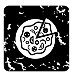 Pizza icon grunge style vector