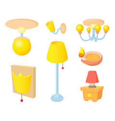 room light icon set cartoon style vector image vector image