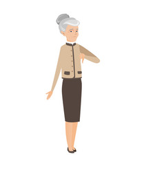 Sad caucasian business woman with thumb down vector